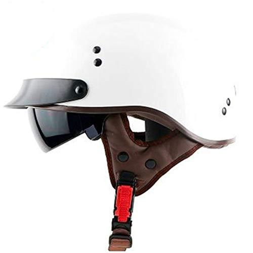 MYSdd Originaler Halfface-Motorradhelm mit intern steuerbarer Sonnenbrille, Leichter Helm zum einfachen Tragen - biright White XM
