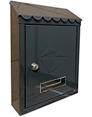 Kippen 10004bn brievenbus in gelakt staal, zwart, 300 x 210 x 70 mm