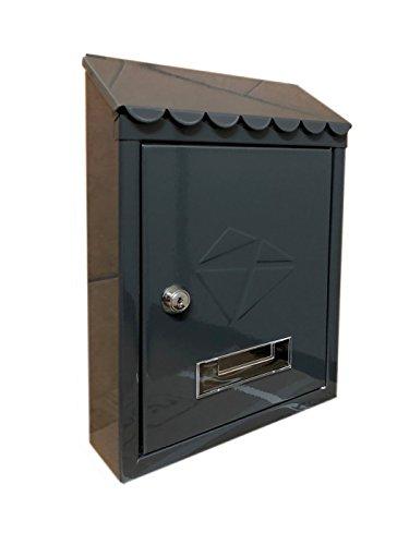 Kippen 10004BN Cassetta postale in acciaio verniciato colore nero, 300 x 210 x 70 mm