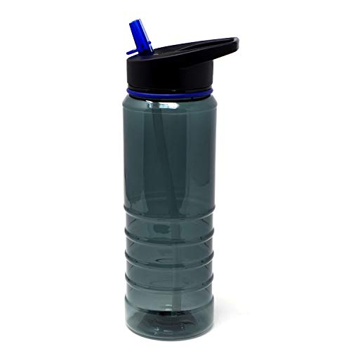 ElloGear Sports Water Bottle - BPA Free, Tritan with Flip Straw Top, Great for Bike Rides, Camping Outdoor, Travel, Fitness Gym, Yoga, and Work - Spill Resist - 24oz (Purple/Clear Blue)