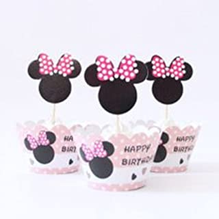 Minnie Mouse Cupcake Toppers and Wrappers Birthday Party Kit (Makes 12)
