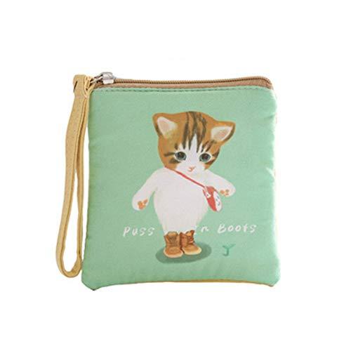 Tpocean Kleine Kosmetiktasche aus Segeltuch mit Reißverschluss, Stiefel Katze (Türkis) - HYW260