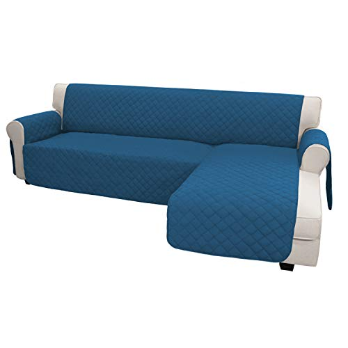 Easy-Going Sofa Slipcover L Shape Sofa Cover Sectional Couch Cover Chaise Lounge Slip Cover Reversible Sofa Cover Furniture Protector Cover for Pets Kids Dog Cat (Large,Peacock Blue/Peacock Blue)