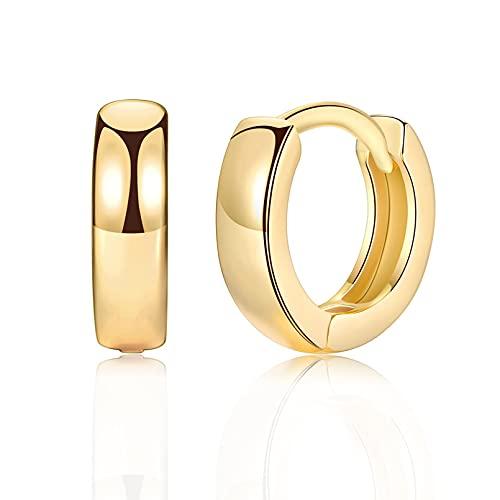 UYVBIAA Par de pendientes unisex de acero inoxidable de color dorado con forma de círculo, aretes de moda para mujeres y hombre