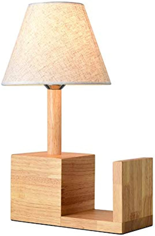 CMDDYY Japanisch Stil Blockschlafzimmer Nachttischlampe-warme Dekoration Tischlampe European Bookcase Kreative Nordic Tischlampe, E27 220W,A