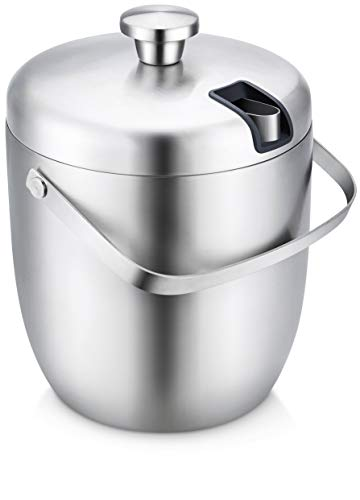 ELITRA Home Stainless Steel Ice Bucket & Wine Chiller with Tongs & Lid - Double Wall Insulated, 3 Liter - Silver