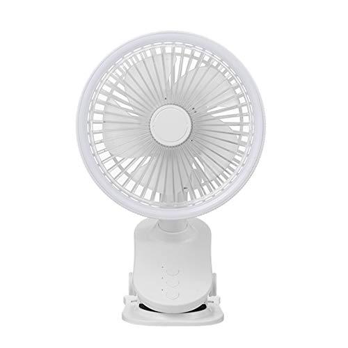 Sonline Ventilador de Mesa USB PortáTil Tipo de Clip RefrigeracióN Recargable Ventilador de Escritorio RotacióN de 360 Grados 3 Velocidades Ajustable Blanco