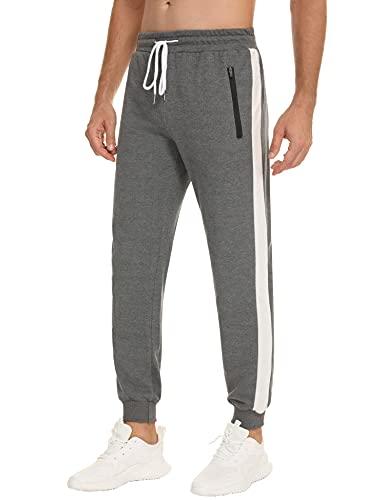 Sykooria Pantaloni Sportivi da Uomo Cotone Pantaloni Tuta da Jogging Transpiranti Pantaloni Casual con Tasche e Coulisse in Palestra S-XXL