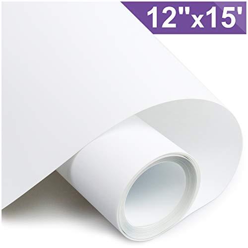ARHIKY Heat Transfer Vinyl HTV for T-Shirts 12 Inches by 15 Feet Rolls(White)