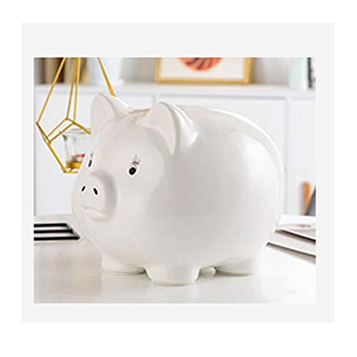 Guoqunshop Hucha de cerdo de cerámica para el hogar, hucha de moneda, caja de almacenamiento de gran capacidad para regalo para adultos (azul, rosa, blanco) (color: blanco)