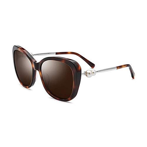 SSM Gafas de Sol Placa Gafas de Sol Gafas de Sol Polarizadas Doble Pearl Leopard Thick Frame Uv400 Protección Lente Marrón viaje