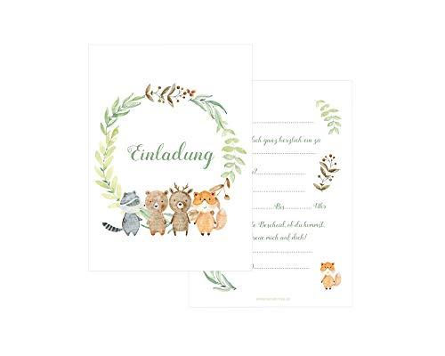 Friendly Fox Waldtiere Einladung - 12 Tiere Einladungskarten zum Kinder-Geburtstag Junge Mädchen - Einladung Kindergeburtstag Tierpark - Wald Tiere Freunde