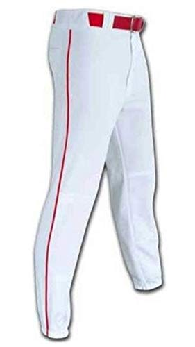 TAG White w/Red Piping Youth Nylon Baseball Pants - White/Red (Youth Medium)