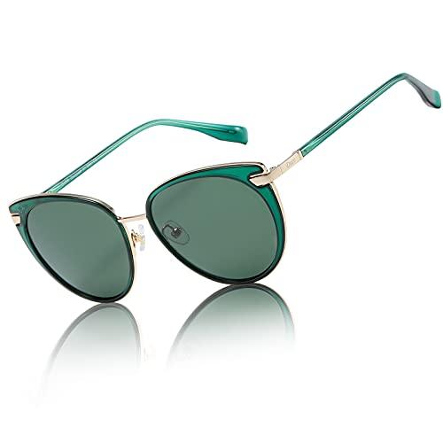 Duco Fashion Metal Round Designer Sunglasses for Women-Polarized Classic Vintage Retro Shades DC1222 (Transparent Green)