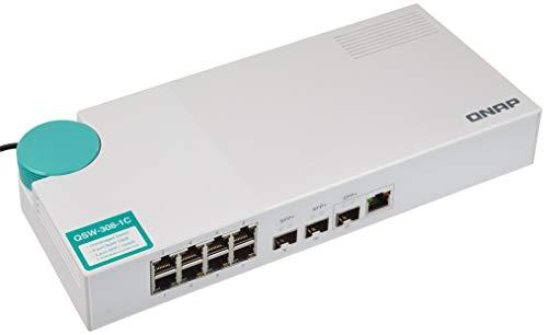 QNAP QSW-308-1C Switch de 8 puertos NBASE-T de 1 GbE, tres puertos SFP + de 10 GbE, compatibilidad con NBASE-T de 10 GbE para...