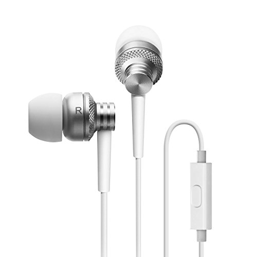 Edifier P270 in-Ear Computer Headset - Metallic Earbud Headphones with Mic and Remote Control - Silver