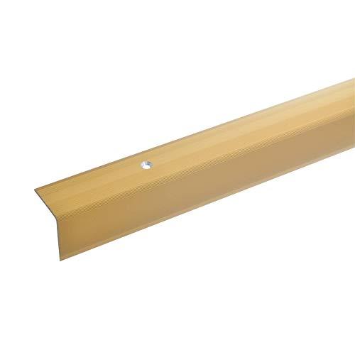 acerto 51050 Aluminium Treppenwinkel-Profil - 135cm, 32x30mm, gold * Rutschhemmend * Robust * Leichte Montage Treppenkanten-Profil, Treppenstufen-Profil Alu Gelochtes Stufenkanten-Profil Treppenprofil