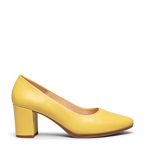 Urban S Salon Zapato de Piel Amarillo con tacón Medio
