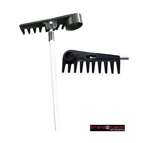 Brand Fusion Unisex-Adult Golf Rake-with Ball Retriever, Silver/Black, One Size