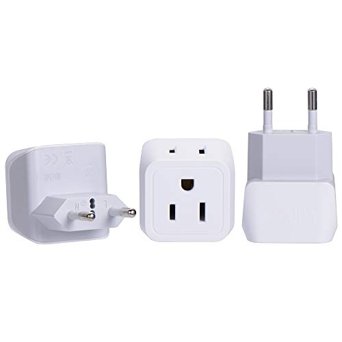 Turkey, Egypt, Iceland Travel Adapter Plug by Ceptics - Type C - Europe - 2 In 1 - Light Weight - Perfect for Cell Phones, Chargers, Cameras and More