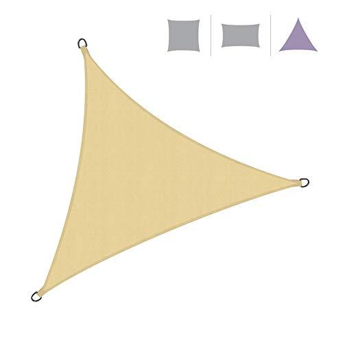 Rebecca Mobili Vela Ombreggiante Tenda Outdoor Beige Triangolare Anelli Rinforzati Corde Incluse Polietilene Anti UV 3,6x3,6x3,6 mt (cod. RE6340)