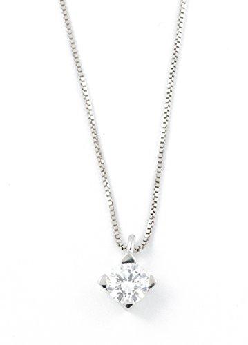 Collana da donna punto luce diamante Ct.0,16 F VS in oro bianco 18Kt. Gioiello da donna Made in Italy