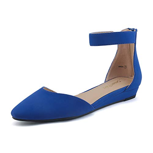 DREAM PAIRS Women's Royal Blue Nubuck Low Wedge Ankle Strap Flats Shoes Size 8 M US Amiga