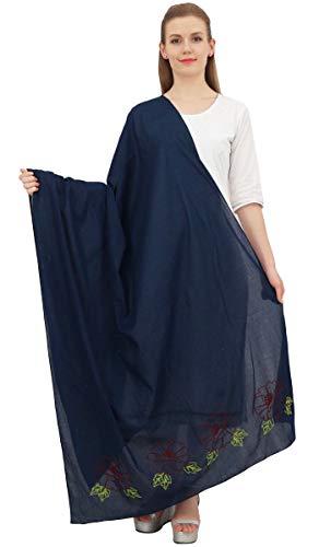 Phagun indische Frauen Schal-Verpackungs-gestickte Baumwolle Dupatta lange Stola-Marine-Blau