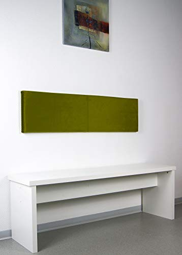 animal-design L Wand-Kissen Breite 115cm mit Montage-Set - Samt - in Oliv oder senf, Farbe:Oliv