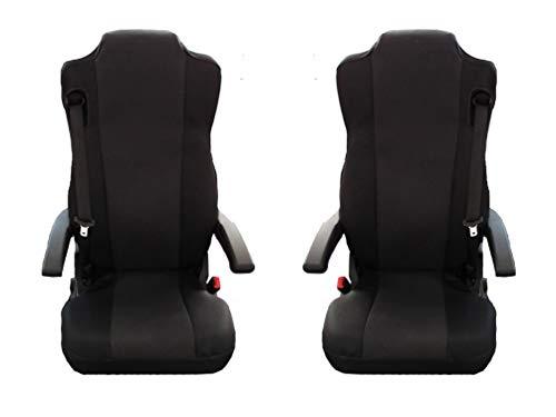Texmar Fundas de asiento para Mercedes Actros Giga Space MP4 de tela a medida, color negro, 2 unidades