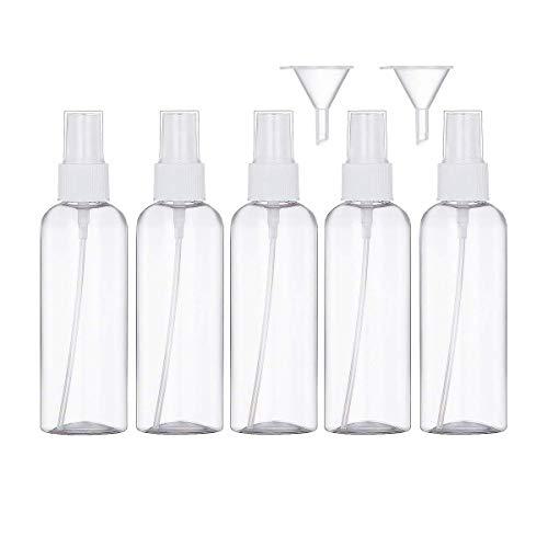 100ml Bote Spray Botellas Vacía De Plástico Transparentes Contenedor de Pulverizador, Bote Spray Pulverizador Transparente Set de Botella de Spray de Viaje-5 Piezas