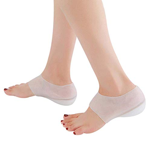 Yagerod Concealed Footbed Enhancers - Invisible Height Increase Silicone Insoles Pads New, Foot Heel Lift Gel Insoles, Heel Cushions for Leg Length Discrepancies for Men Women White No Holes 0.6'/2cm