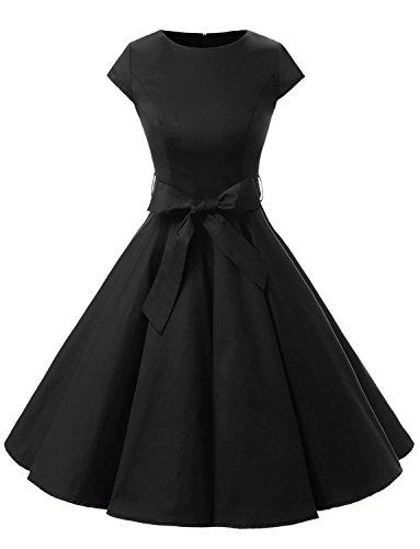 Dressystar Damen Vintage 50er Cap Sleeves Dot Einfarbig Rockabilly Swing Kleider XXXL Schwarz