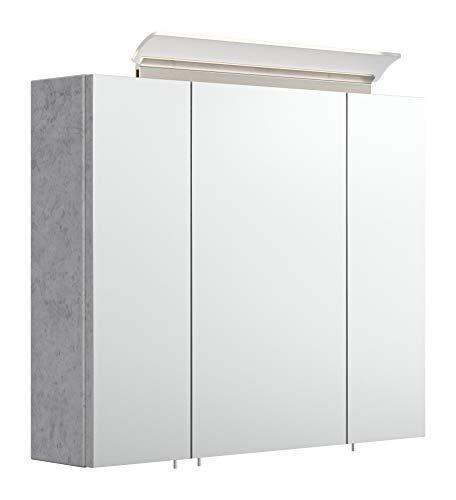 emotion Spiegelschrank 75cm inkl. Design LED-Lampe und Glasböden Beton