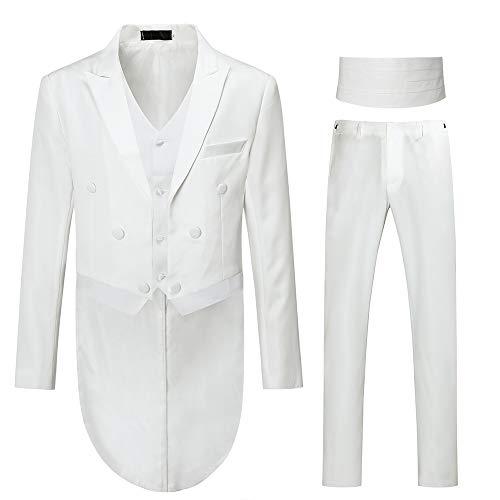 Allthemen Costume Homme Queue de morue Tuxedo Mariage Party Habit à Queue cérémonie, Blanc(3 Pcs), 4XL