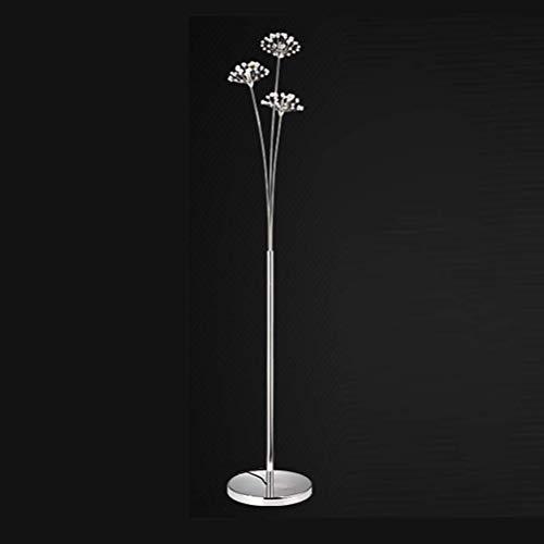 Lámpara de pie LED Crystal, Lámpara de pie Moderna para Sala de Estar, Dormitorio, Oficina, Lámpara de pie G4 Decoración de lámpara de pie de Acero Inoxidable, Plata, 3Flammige / Whitelight