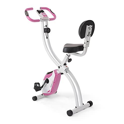 Ultrasport Unisex F-Bike, pantalla LCD, entrenador casero plegable, niveles de resistencia ajustables, con sensores de pulso de mano, entrenador de bicicleta plegable, para atletas y mayores