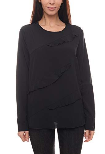 Heine Bluse Rüschen-Bluse stylisches Damen Freizeit-Shirt figurumspielend Blusen-Shirt Jersey-Bluse Schwarz, Größe:42