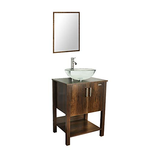 """U-Eway 24"""" Brown Bathroom Vanity and Sink Combo Black Cabinet Round Clear Tempered Glass Vessel Sink & 1.5 GPM Chrome Water Save Faucet & Pop Up Drain,with Mirror,B12CA06"""