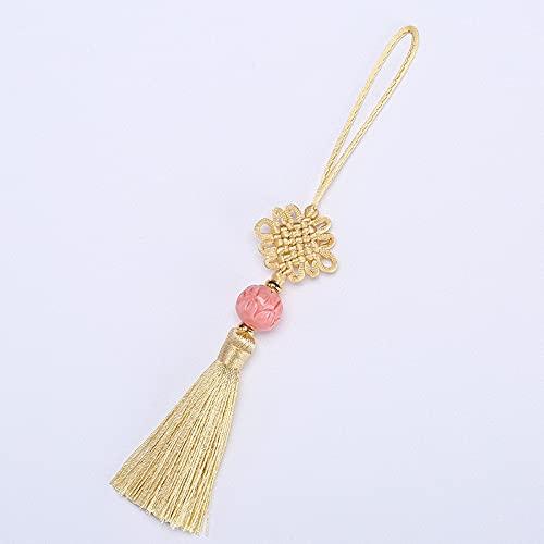 Lot de 2 chaînes d'extension de cheveux en forme de fleur de lotus avec nœuds chinois pour bijoux, rideau, sac, accessoires de décoration, pompons (couleur : beige)