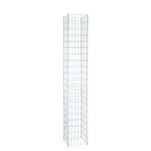 ESTEXO Gabionen-Säule 200 cm Höhe - feuerverzinkt - 4-Eck Säulengabione, Steinkorb,Gabione, Maschung, 10x5 cm