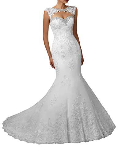HUINI Brautkleid Meerjungfrau Spitze Lang Rückenfrei Hochzeitskleider Trompete mit Trägerloses mit Herzausschnitt Weiß 32