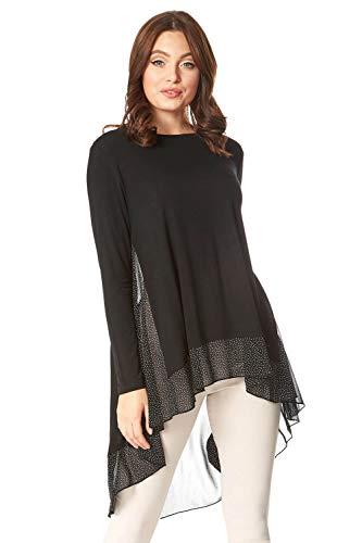 Roman Originals suéter de gasa con dobladillo en la parte superior, para mujer, para noche, formal, casual, para fiesta, túnica asimétrica, informal, suelto, blusas lisas