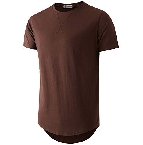 KLIEGOU Mens 100% Cotton Hipster Hip Hop Longline Crewneck T-Shirt Brown S(66)
