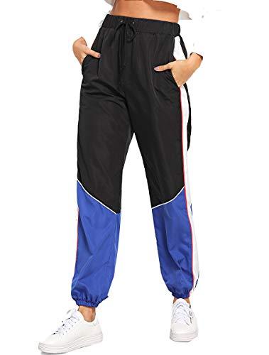 Romwe Women's Elastic Waist Drawstring Color Block Sporty Running Windbreaker Pants with Pockets Multicolor L