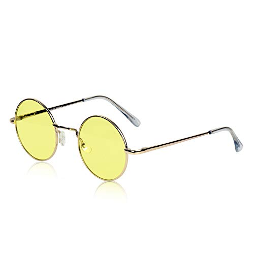 Gold Sunglasses Night Vision Glasses for Driving Wire Metal Frame HD Yellow