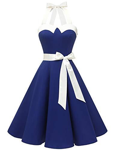 Dressystar Damen Vintage 1950er Retro Cocktailkleid Rockabilly Neckholder Faltenrock Swing Kleider D-Royalblau mit Weiß L