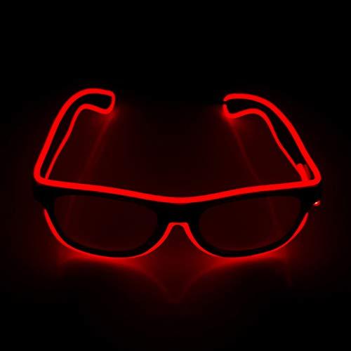 San Zhi LED Leuchtend Brille EL Wire Brillen mit Schaltersteuerung, Rot