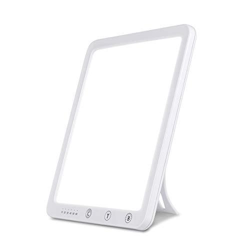 EKUPUZ Tageslichtlampe 10000 Lux LED Lichttherapie Lampe UV-frei Tageslicht Daylight Lampe mit 3 Lichtfarben, 10-60 Min Timer Einstellung, Touch-Steuerung