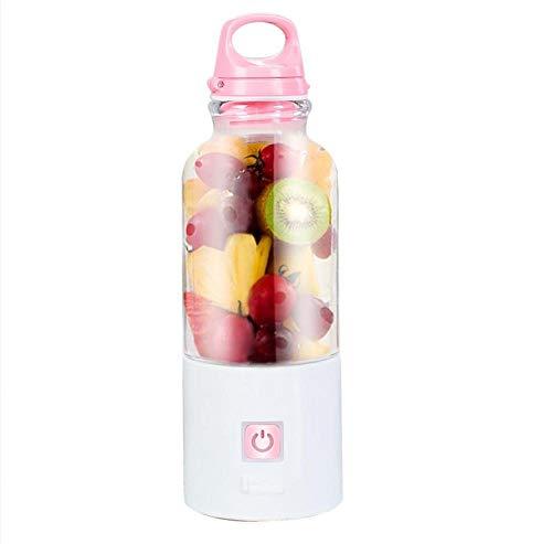 ERKEJI Batidoras de Vaso Mini licuadora Recargable portátil del Juicer del USB con 6 Cuchillas 500ml 4400mAH Alimentos de bebé del batido de Leche de la Fruta